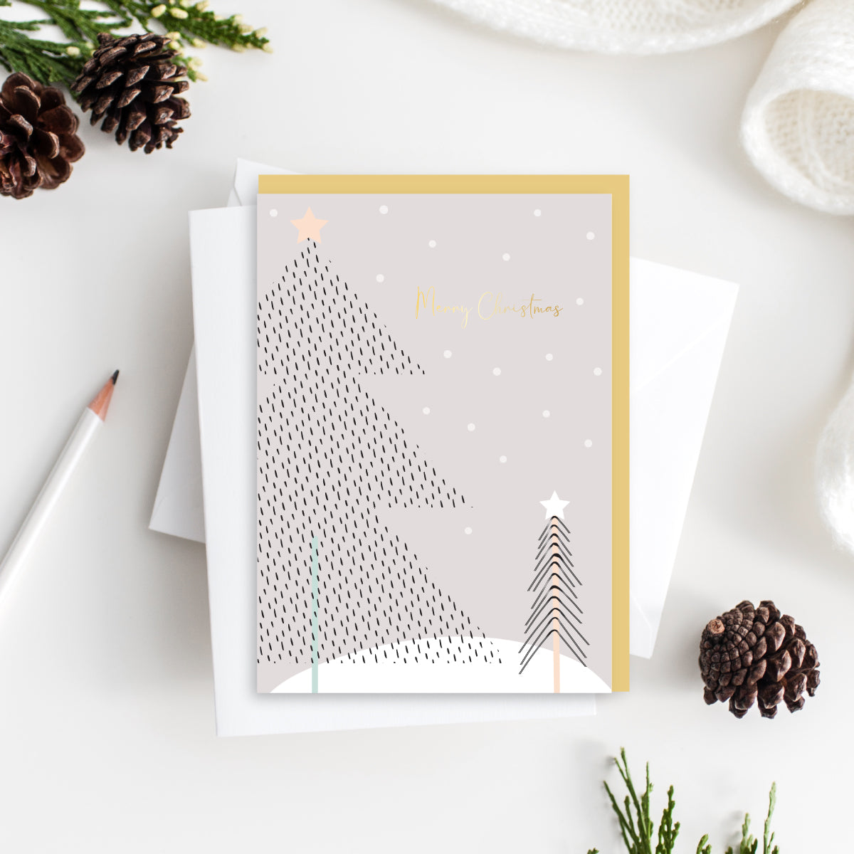 Merry Christmas Snow Scene Card