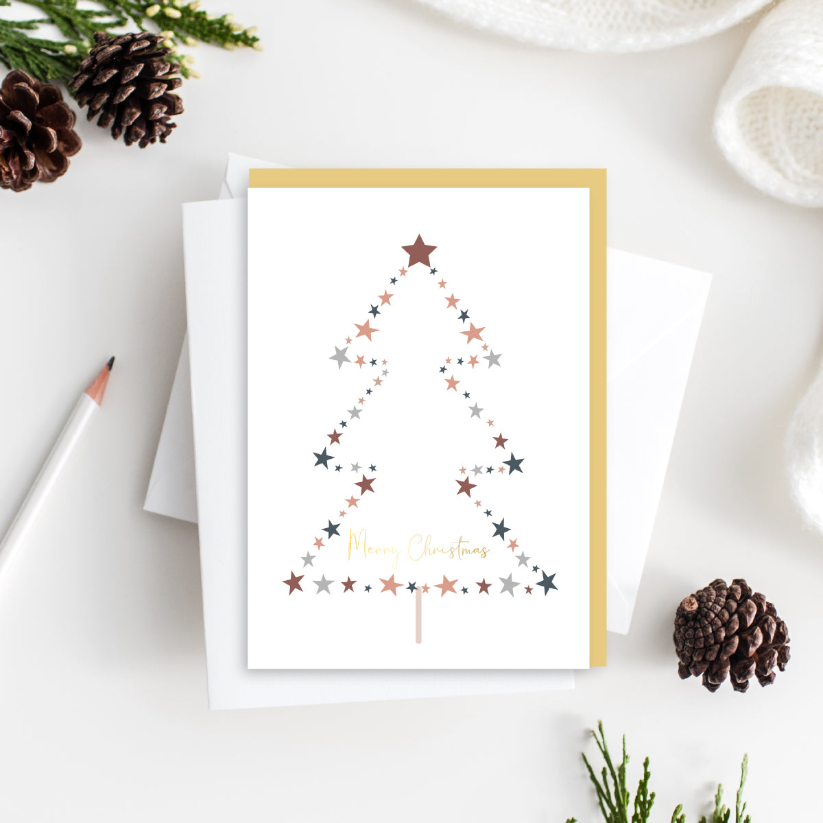 Merry Christmas Tree Card - Gold Foiled