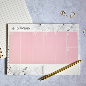 Weekly Desk Planner Pink Tropical