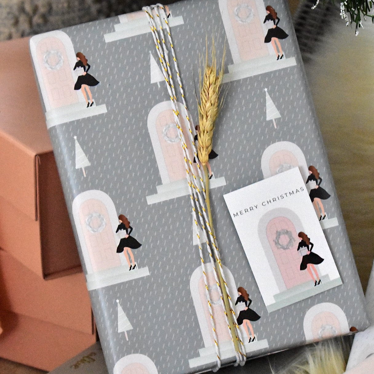 Christmas Gift Wrap - Girl on Pink Door - Pack of 2 Sheets