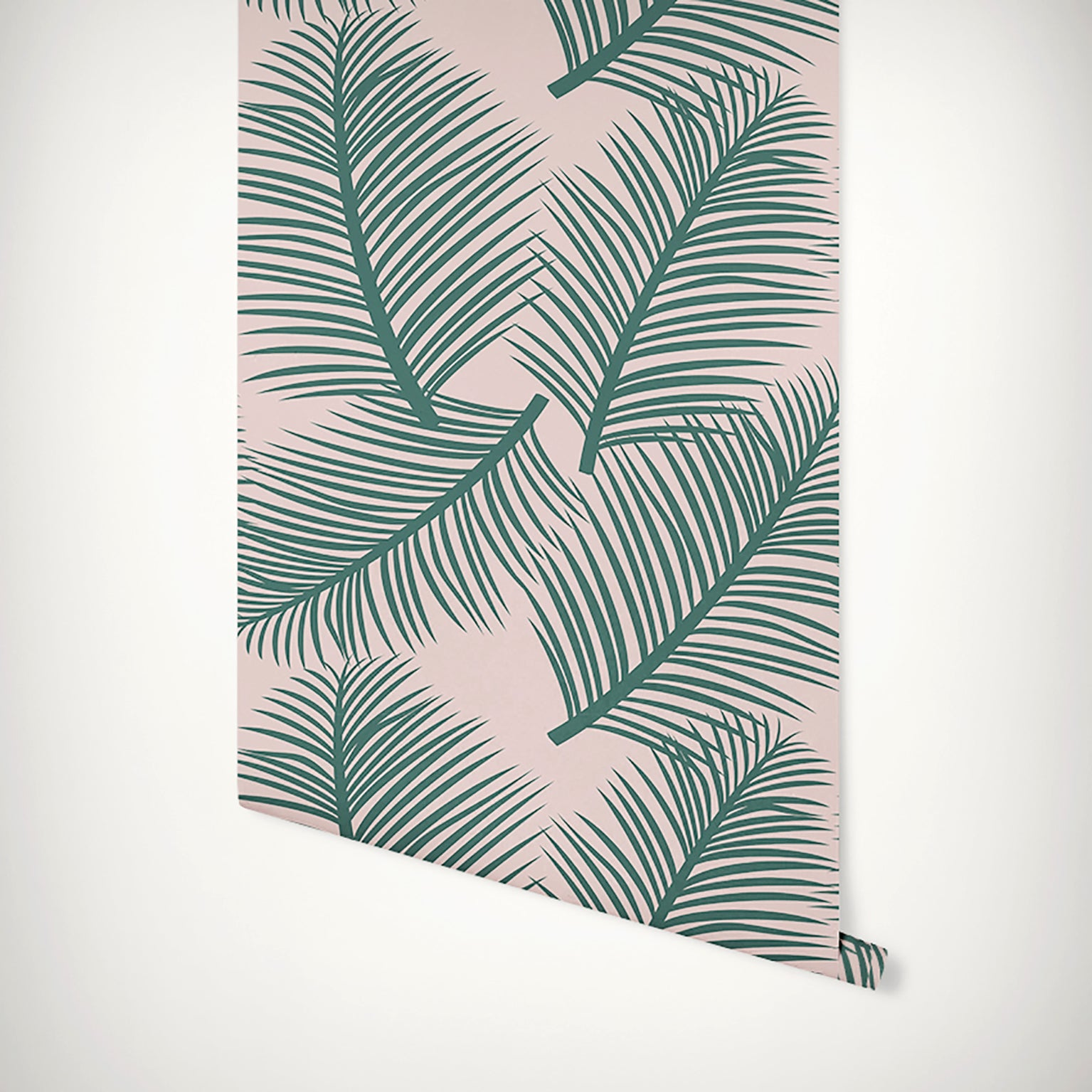 Palm Leaf Garden Wallpaper - Green on Blush