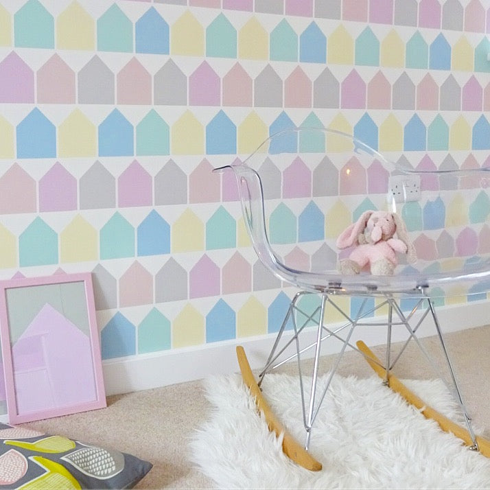 The Beach Huts wallpaper in Pastel is fun, colourful and playful wallpaper designed and printed in England to decorate little ones bedrooms and playrooms.
