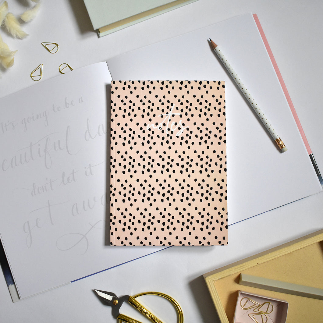 Dots Peach A5 Notebook - lined pages