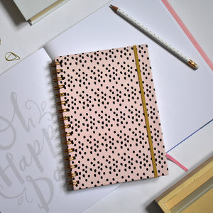Wiro Bound Dots Peach A5 Notebook - lined pages