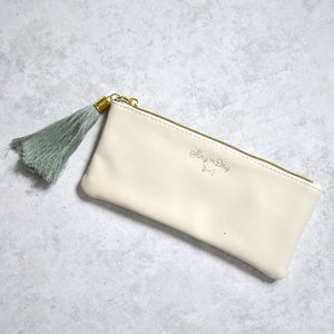 Ivory Vegan Leather Pencil Pouch