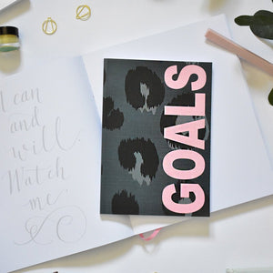 A5 Notebook Animal Print 'Goals' Dotted