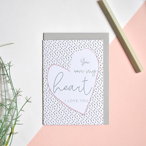 You Won My Heart Card - Blank Inside - Recycled