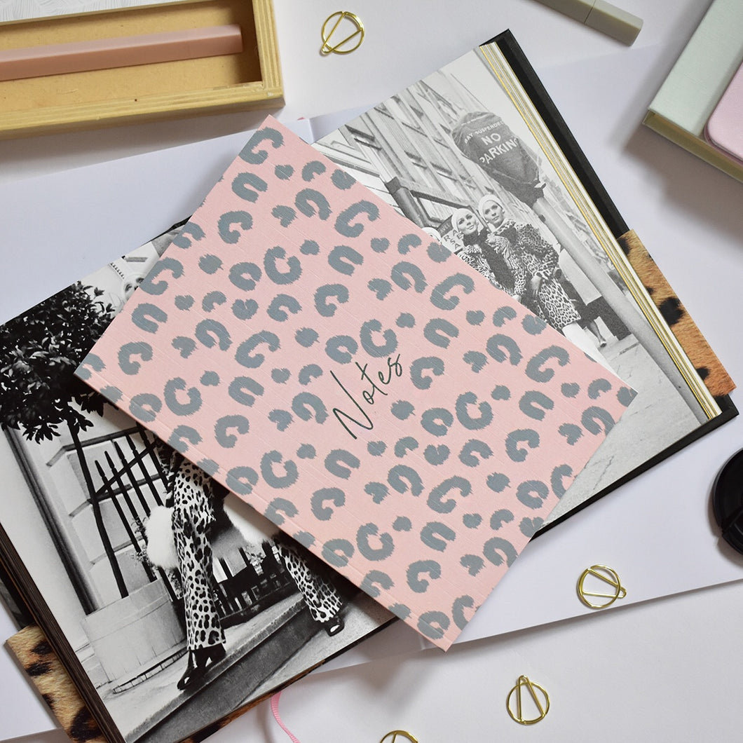A5 Notebook Animal Print Pink Dotted Pages