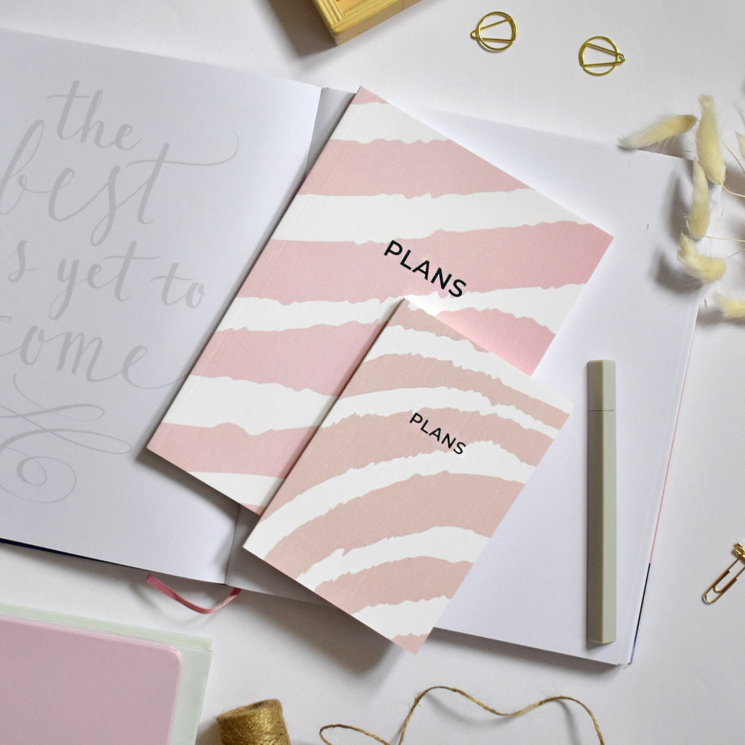 A6 Notebook Zebra Pink 'Plans' Dotted Pages