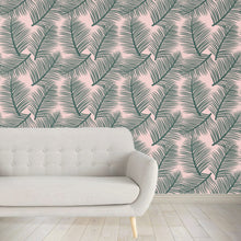 Load image into Gallery viewer, Palm Leaf Garden Wallpaper - Green on Blush