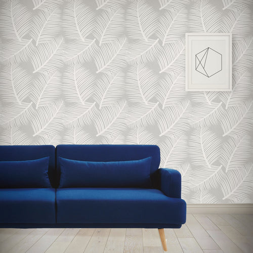 Palm Leaf Garden Wallpaper - Grey