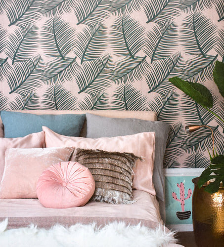This stunning tropical green and pink wallpaper designed and printed in England in striking colours allows you to add a light and airy yet elegant element to any room in your home.