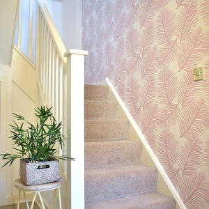 This stunning pink wallpaper designed and printed in England in a delicate blush shade allows you to add a light and airy yet elegant element to any room in your home.
