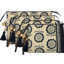 Load image into Gallery viewer, Navy & Stone Large Clutch