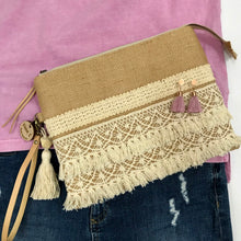 Load image into Gallery viewer, Hessian & Lace Classic Fringe Clutch