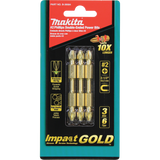 "Makita B-39584 Impact GOLD® #2 (2-1/2"") Phillips Double-Ended Power Bit, 3 Pack"