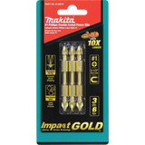 "Makita B-39578 Impact GOLD® #1 (2-1/2"") Phillips Double-Ended Power Bit, 3 Pack"