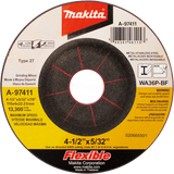 "Makita A-97411-25 4-1/2"" x 5/32"" x 7/8"" INOX Flex Grinding Wheel, 36 Grit, 25 pack"