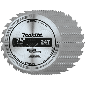 "Makita D-45989-10 7-1/4"" 24T Carbide-Tipped Circular Saw Blade, Framing/General Purpose, 10 pack"