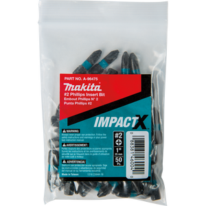Makita A-96475 ImpactX™ #2 Phillips 1″ Insert Bit, 50 pack