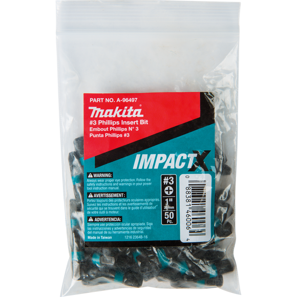 Makita A-96497 ImpactX™ #3 Phillips 1″ Insert Bit, 50 pack