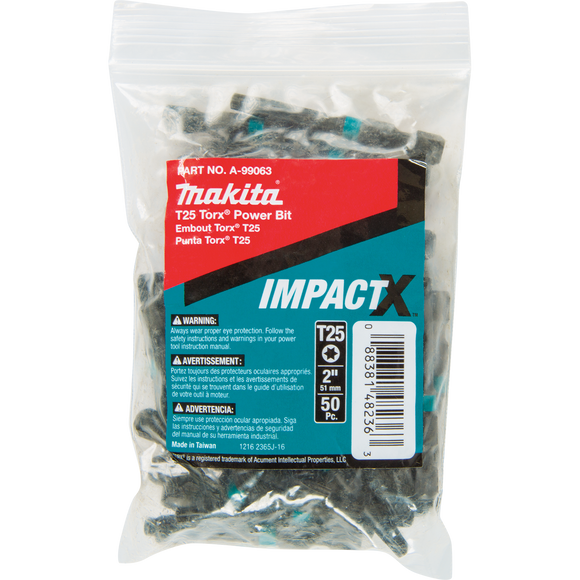 Makita A-99063 ImpactX™ T25 Torx® 2″ Power Bit, 50 pack
