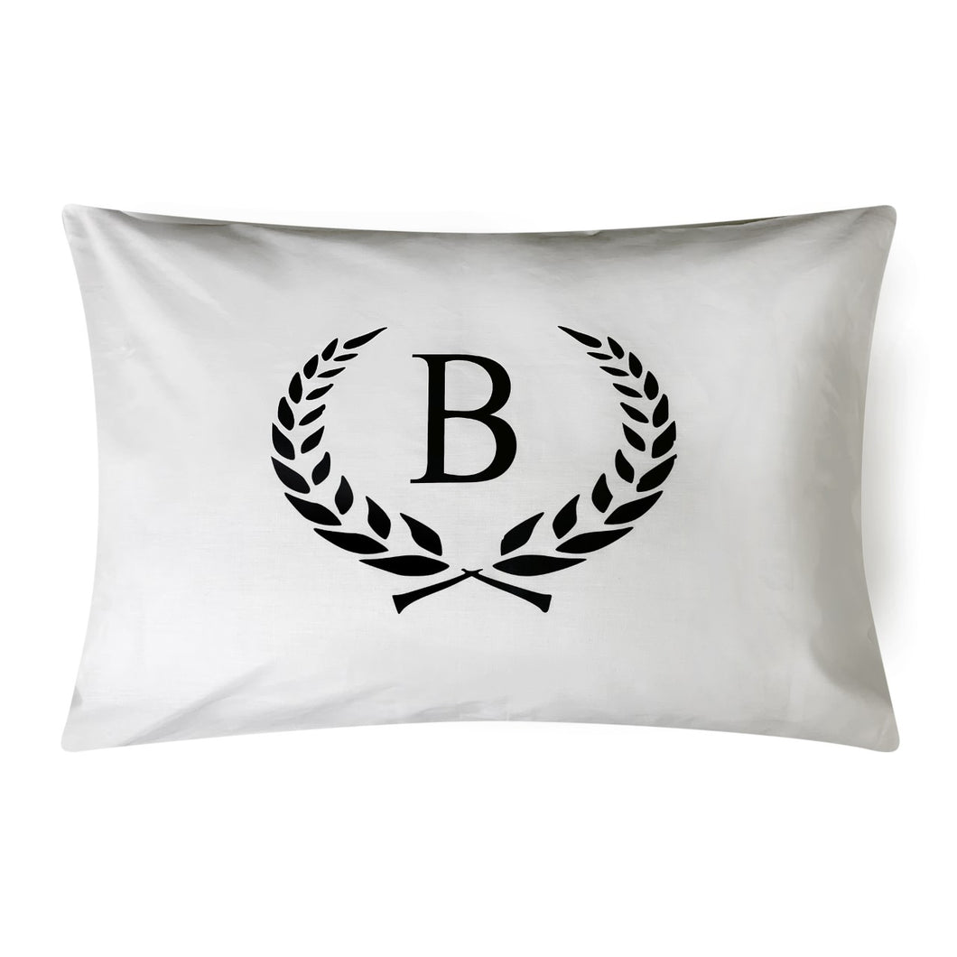 CAESAR CROWN INITIAL WHITE & BLACK CUSTOM PILLOWCASE