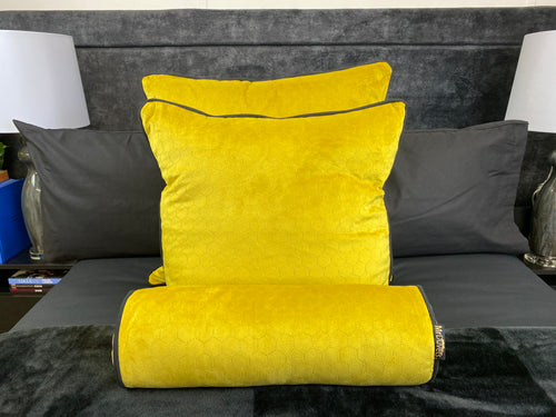 HONEYCOMB BEE YELLOW CUSHION SET