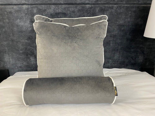 GREY MIST HONEYCOMB CUSHION SET