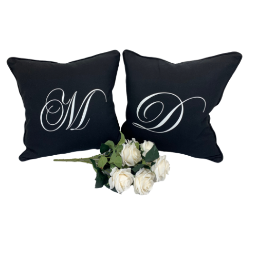 LUXURY BLACK CUSHION WEDDING GIFT SET WITH WHITE PRINTED INITIALS
