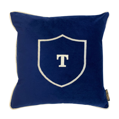 SHIELD OF THE MANOR INITIAL BLUE VELVET CUSTOM CUSHION WITH REVERSE PIPING