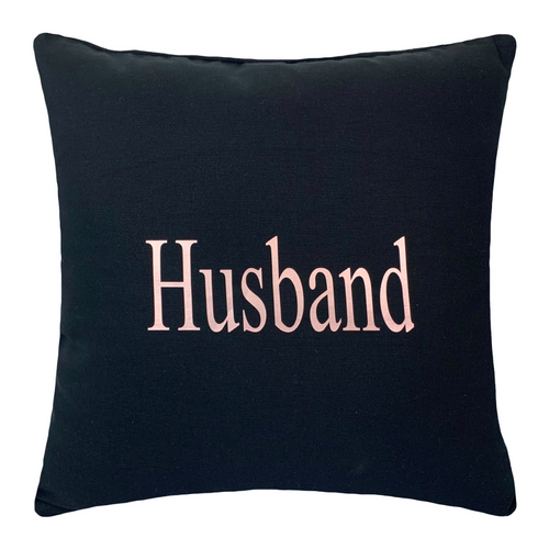 HUSBAND CUSHION BLACK & ROSE GOLD