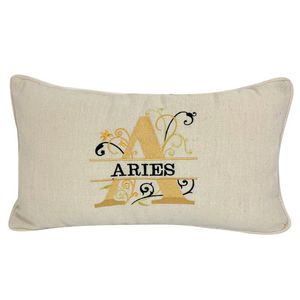 ARIES STAR SIGN LINEN CUSHION