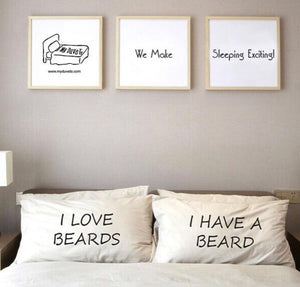 I Love Beards Pillowcase Set