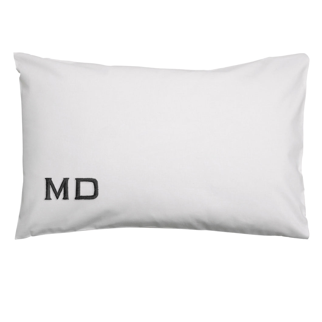 WHITE CUSTOM INTIAL PILLOWCASE SET