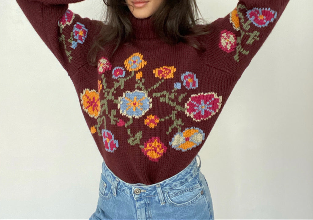 Turtle Neck knitted sweater Handmade