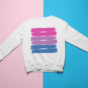Bisexual Pride Brush Strokes Crewneck Sweatshirt