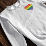 Gay Pride Rainbow Heart Crewneck Sweatshirt