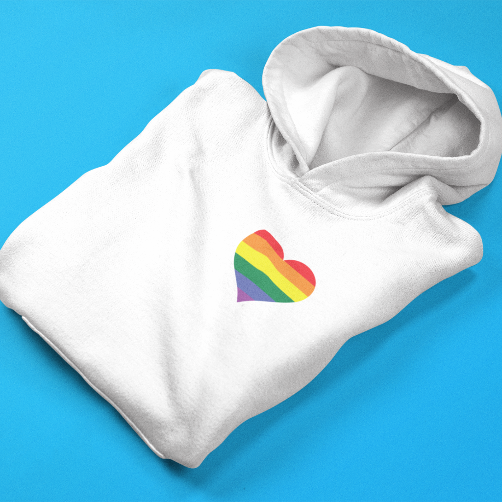 Gay Pride Heart Hooded Sweatshirt - Mindpop