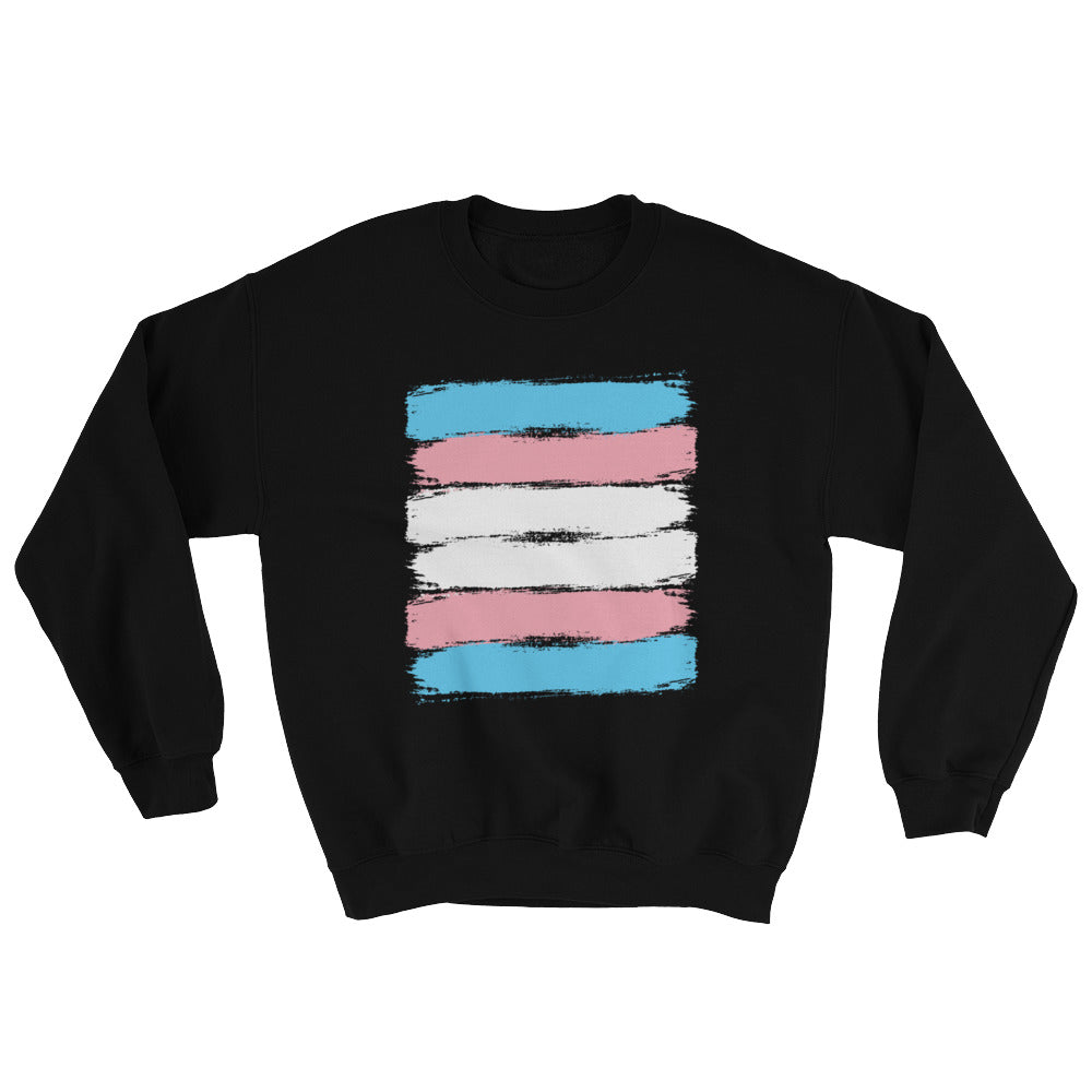 Transgender Pride Flag Brush Strokes Crewneck Sweatshirt