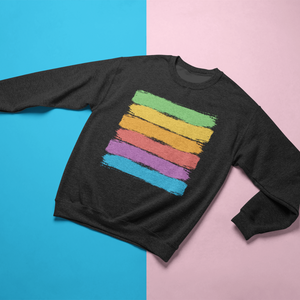 Gay Pride Rainbow Flag Brush Strokes Crewneck Sweatshirt - Mindpop