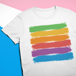 Gay Pride Rainbow Brush Strokes T-Shirt - Mindpop