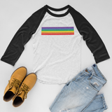 Rainbow Print 3/4 Sleeve Unisex Raglan Shirt (4 colors)