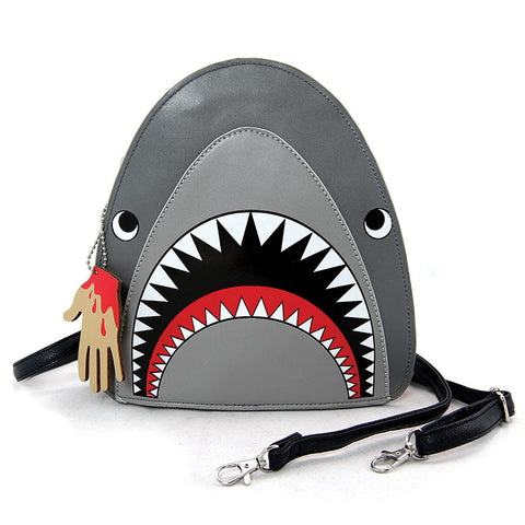 Grey Shark Vinyl Crossbody Bag