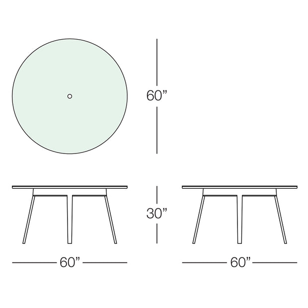 "Senna 60"" Round Dining Table with Tempered Glass Top"