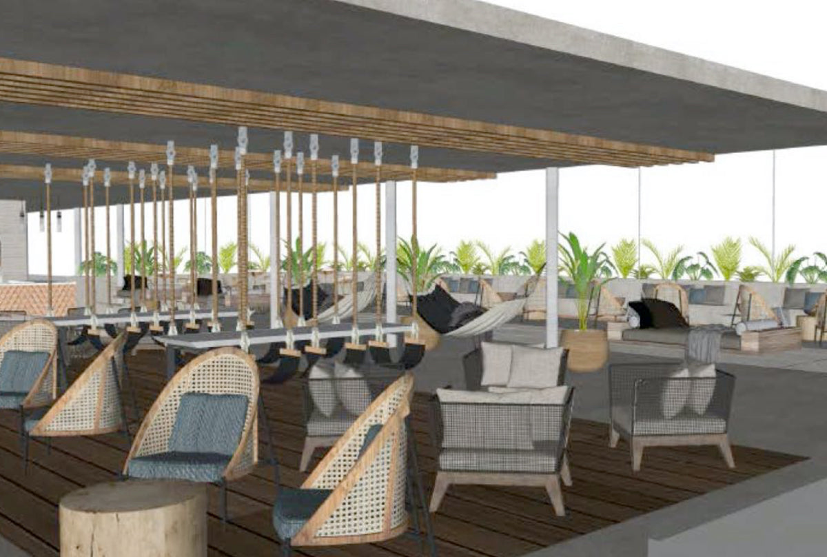 Rendering of outdoor space at hotel
