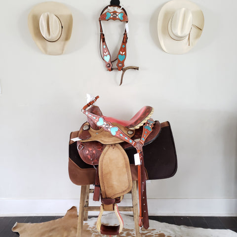 "COMPLETE SET - 13"" Coral Dreamin' - Saddle, Saddle Pad, Headstall and Breast Collar"