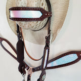 Horse Size Mermaid One Ear Headstall and Breast Collar Set