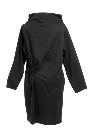 Black diagonal gathering dress