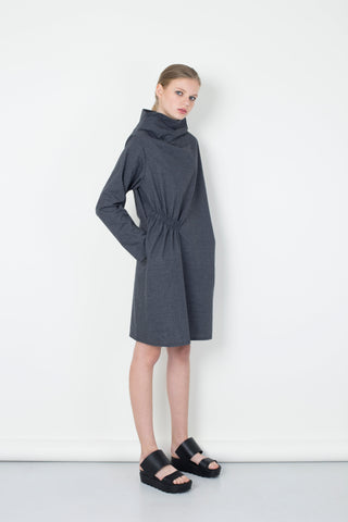 Light Grey  Diagonal Gathering Dress
